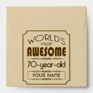 70.o mundo de la celebración del cumpleaños del or sobres