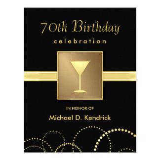 70 o Oro negro formal de las invitaciones de la fi Invitacion Personal