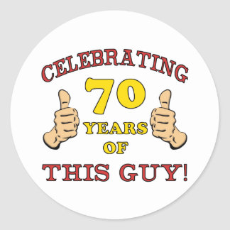 70.o Regalo de cumpleaños para él Pegatina Redonda