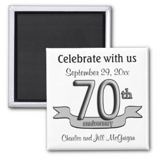 70.o Reserva del aniversario los favores de fiesta Imán Cuadrado