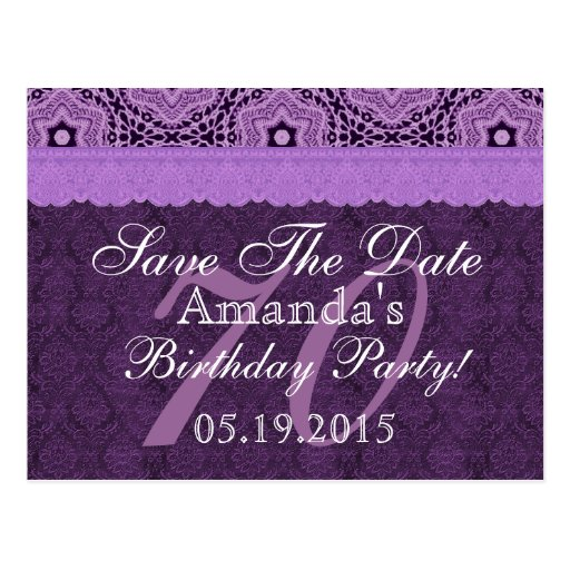 70.o Reserva del cumpleaños el cordón antiguo púrp Postales