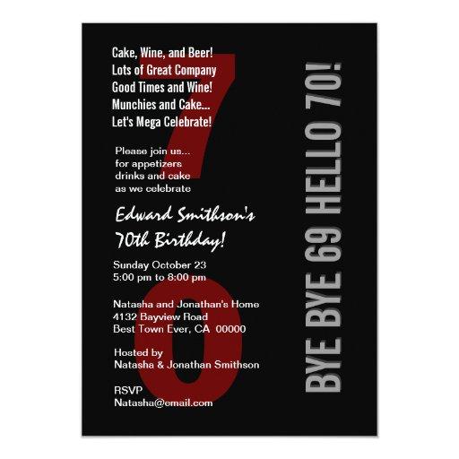 """70.o Rojo blanco W1789 del cumpleaños de la plata Invitación 5"""" X 7"""""""