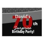 70.o Rojo blanco W1922 del negro del cumpleaños de Invitaciones Personalizada