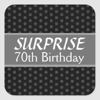 70.o Rojo de la plata del negro del cumpleaños de Pegatina Cuadrada