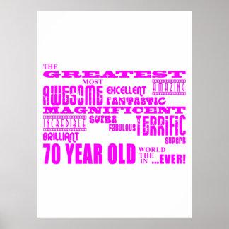 70 o rosa de los cumpleaños de los chicas Los set Posters