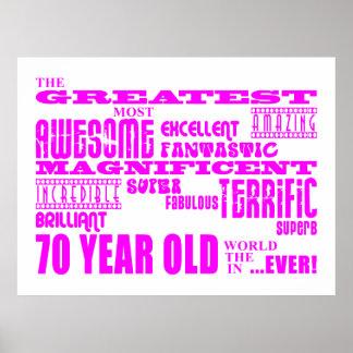 70 o rosa de los cumpleaños de los chicas Los set Poster