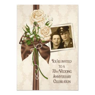 70.o Rosas del aniversario de boda Invitación 12,7 X 17,8 Cm