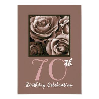 70.o Rosas W1114 del CHOCOLATE de la fiesta de Invitación 12,7 X 17,8 Cm