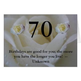 70.o Saludo de la cita del rosa blanco del cumplea Tarjeta De Felicitación