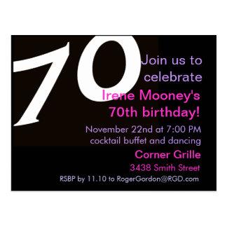 70.o Septuagésimo de la invitación 70.a de la Postales