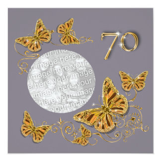 """70.o septuagésimo topaz del otoño del cumpleaños invitación 5.25"""" x 5.25"""""""