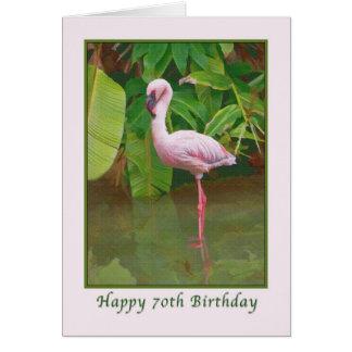 70.o Tarjeta de cumpleaños con el flamenco rosado