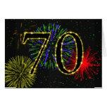 70.o Tarjeta de cumpleaños con los fuegos
