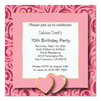 """70.o Texto de la fiesta de cumpleaños el   DIY Invitación 5.25"""" X 5.25"""""""