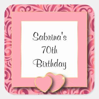 70.o Texto de la fiesta de cumpleaños el | DIY Pegatina Cuadrada