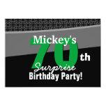 70.o Verde blanco 001 del negro del cumpleaños de Anuncio Personalizado