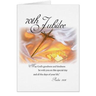 70.o Vida religiosa del jubileo, monja, vela Tarjeta De Felicitación