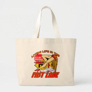 70.os regalos de cumpleaños del carril rápido bolsas lienzo