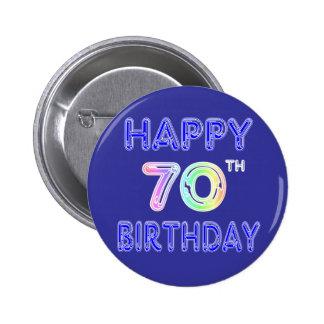 70.os regalos de cumpleaños felices en fuente del  pin redondo de 2 pulgadas