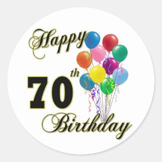 70.os regalos de cumpleaños y ropa felices del pegatina redonda
