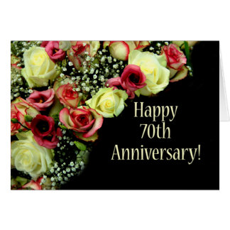 70.os rosas felices del aniversario tarjeta de felicitación