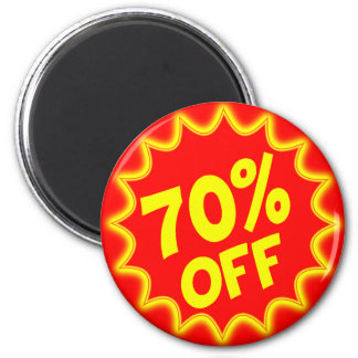 70 PERCENT OFF RETAIL LABEL 2 INCH ROUND MAGNET