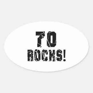 70 Rocks Birthday Designs Oval Sticker