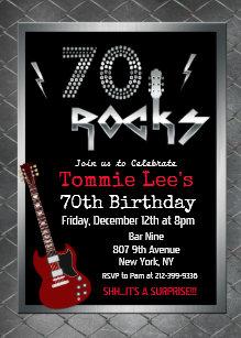 60 off guitar birthday invitations shop now to save zazzle 70 rocks rockstar guitar 70th birthday invitation filmwisefo