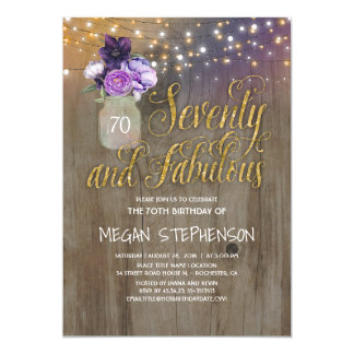 70 Rustic Birthday - Purple Flowers Mason Jar Gold Card