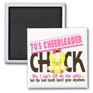 70's Cheerleader Chick 2 Inch Square Magnet