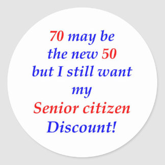 70 Senior Citizen Classic Round Sticker