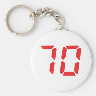 70 seventy red alarm clock digital number basic round button keychain