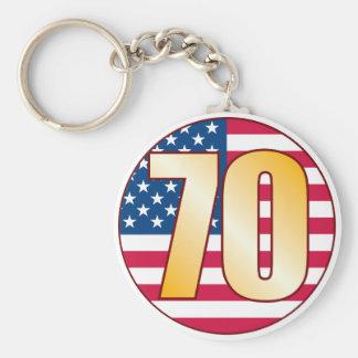 70 USA Gold Basic Round Button Keychain