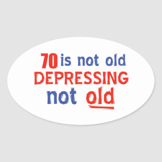 70 year birthday designs oval sticker