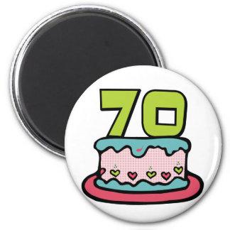 70 Year Old Birthday Cake 2 Inch Round Magnet