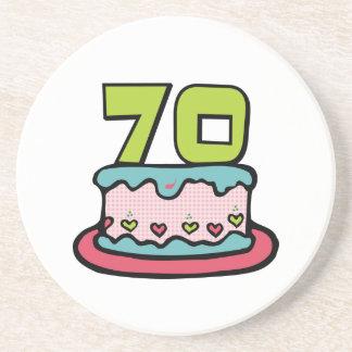 70 Year Old Birthday Cake Coaster