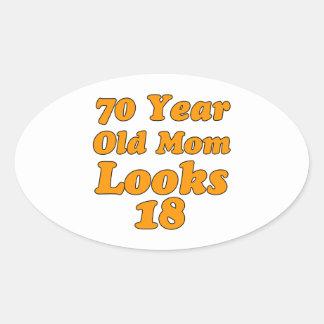 70 year old birthday design oval sticker