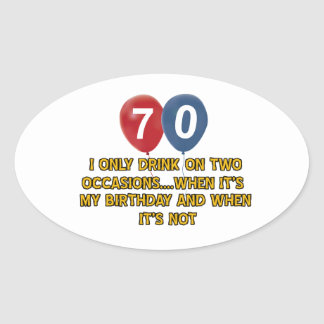 70 year old birthday designs oval sticker