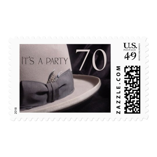 70 year old party - stetson hat theme postage