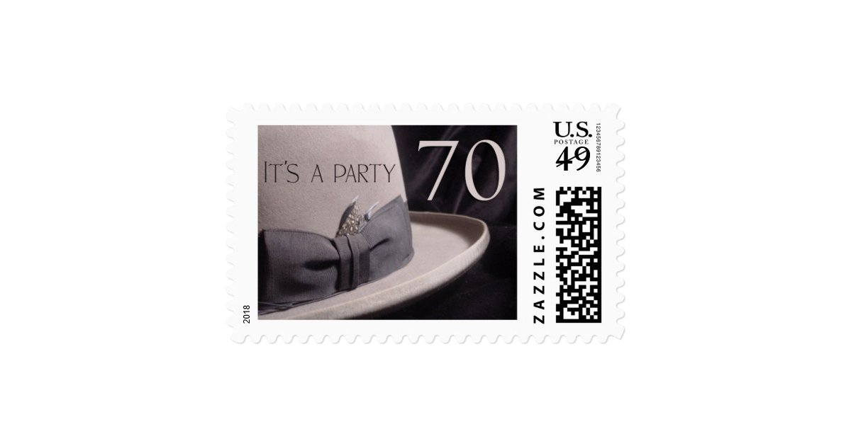70 year old party - stetson hat theme stamp  Zazzle