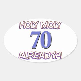 70 years already oval sticker