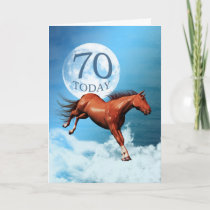 70 years old birthday card with spirit horse