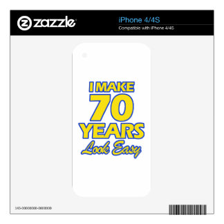 70 YEARS OLD BIRTHDAY DESIGNS DECALS FOR THE iPhone 4S
