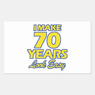 70 YEARS OLD BIRTHDAY DESIGNS RECTANGULAR STICKER