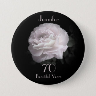 70 Years Old, Pale Pink Rose Button Pin
