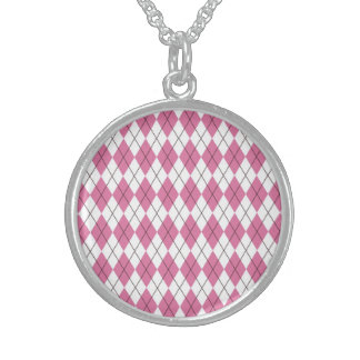70er Muster Pinky Round Pendant Necklace