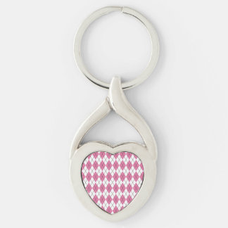 70er Muster Pinky Silver-Colored Heart-Shaped Metal Keychain