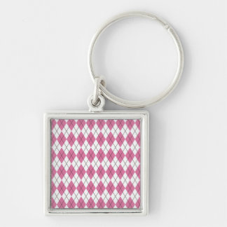 70er Muster Pinky Silver-Colored Square Keychain