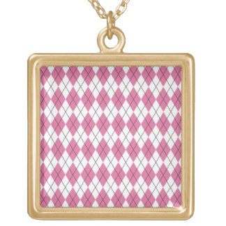 70er Muster Pinky Square Pendant Necklace