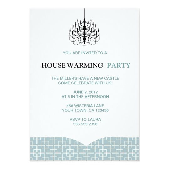 70ies Pattern Chandelier Housewarming Invitations